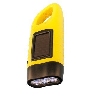 Handcrank Flashlight with Solar Panel and Clip