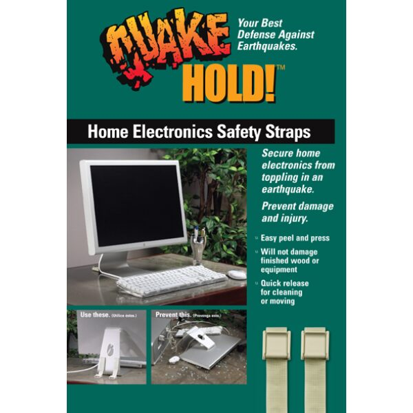 QuakeHOLD! Home Electronic Safety Straps-Grey